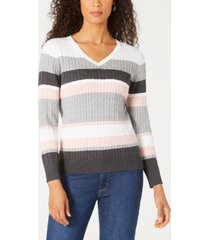 karen scott striped cable-knit sweater, created for macy's