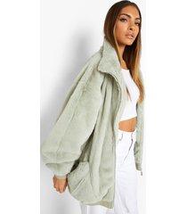 oversized faux fur jas met zak detail, sage