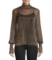 l'agence women's paola knit metallic top - gold metal - size s