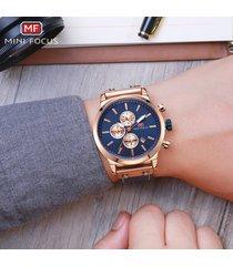reloj para hombre/correa de piel/ mini focus / 0110g /-azul