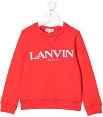 lanvin enfant embroidered-logo cotton sweatshirt
