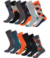 mio marino men's retro collection dress socks pack of 6