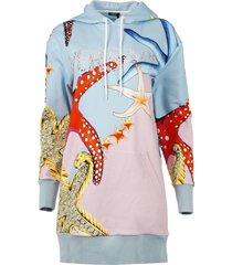 starfish print oversize hoodie dress