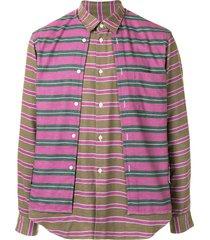 comme des garçons homme plus multi-panel horizontal-stripe shirt -