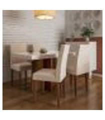 conjunto de mesa de jantar orlando ii com tampo de vidro off white e 4 cadeiras grécia veludo creme