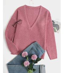 suéter casual de manga larga con cuello en v