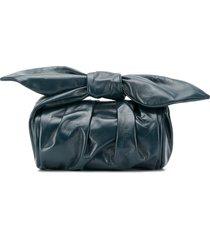rejina pyo bow-detail clutch bag - blue