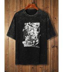 camiseta con gráfico de ceniza lavada informal para hombre