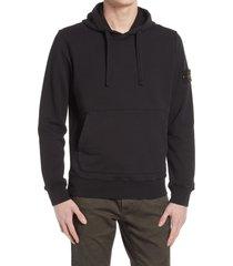 men's stone island cotton hoodie, size medium - black