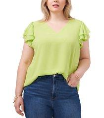 1.state plus size flutter-sleeve v-neck top