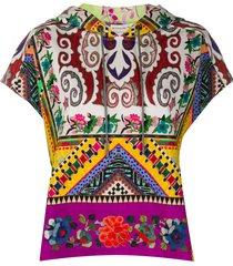 etro patchwork print short sleeve hoodie - purple