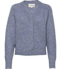 brook knit boxy cardigan stickad tröja blå second female