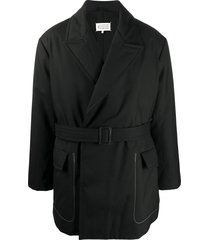 maison margiela belted short coat - black
