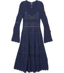 carolina herrera crochet-knit mid-length dress - blue