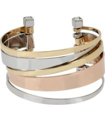 bcbgeneration tri-tone multi bar row cuff bracelet