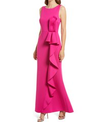 women's eliza j ruffle sleeveless mermaid gown, size 8 - pink
