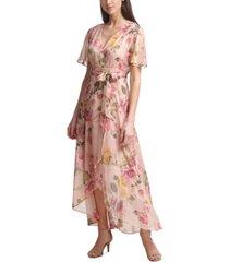 jessica howard petite floral faux-wrap maxi dress