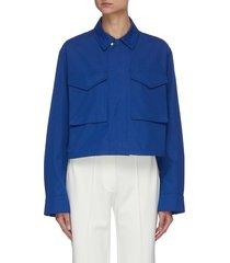 drawstring hem patch pocket crop military jacket