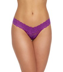 women's hanky panky low rise cross dye thong, size one size - purple