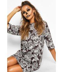 bloemenprint halloween schedel t-shirtjurk, zwart