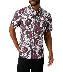 men's 7 diamonds ruby tuesday floral short sleeve button-down performance shirt, size small - white