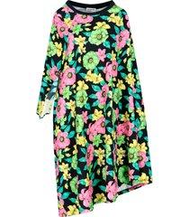 asymmetrical floral midi-dress
