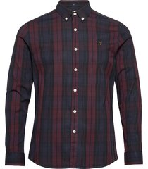 brewer tartan slim fit cotton oxford shirt skjorta casual röd farah