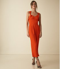 reiss amika - bow back detail jumpsuit in orange, womens, size 10