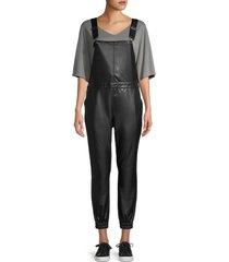 bb dakota women's get the jogs done faux leather overalls - black - size l