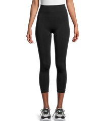 hue women's seamless shaping capri leggings - black - size s