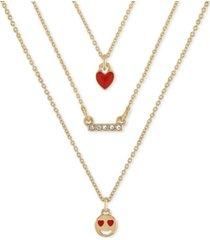 "rachel rachel roy gold-tone 3-pc. set emoji love pendant necklace, 16"" + 2"" extender"