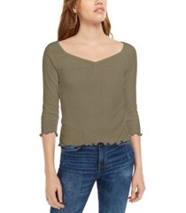 planet gold juniors' ribbed sweetheart top