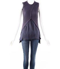 brunello cucinelli gray silk knit draped layered sleeveless top gray sz: m