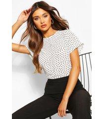 blouse met stippen en korte mouwen, white