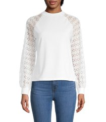 stellah women's lace-sleeve sweatshirt - white - size m