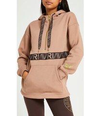river island womens beige ri active half zip hoodie