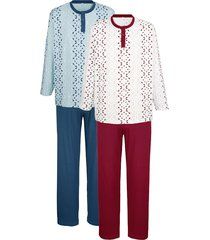 pyjama's roger kent 1x lichtblauw/marine, 1x wit/bordeaux