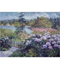"david lloyd glover summer garden at the lake canvas art - 15"" x 20"""
