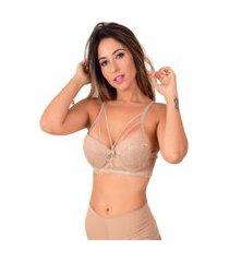 soutien strappy vip lingerie base em renda bege