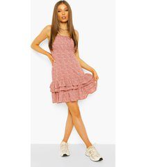 bloemenprint mini jurk met ruches en losvallende zoom, pink