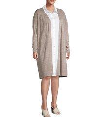 eileen fisher women's plus long linen cardigan - beige - size 1x (14-16)