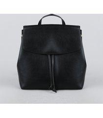 mochila feminina com lapela e cordão preta