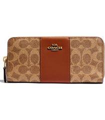 women's coach leather & coated canvas zip wallet -