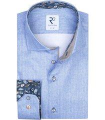 blauw overhemd print r2