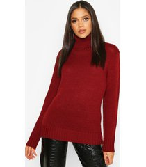 tall roll neck soft knit sweater, wine