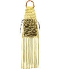 knotted bamboo fringe handbag