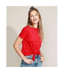 camiseta de algodão básica com nó manga curta decote redondo vermelha