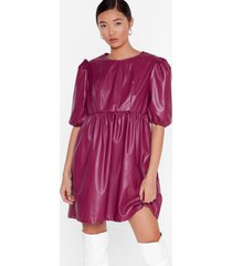 womens faux leather you're in or out puff mini dress - plum