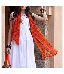 silk shawl, 'tribal scenes' (india)