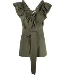 p.a.r.o.s.h. ruffled neck belted blouse - green